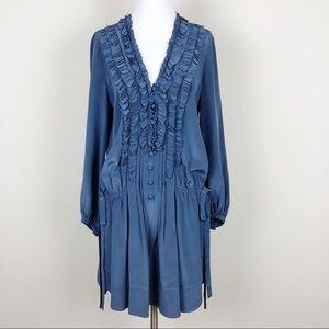 Rebecca Taylor   Ruffle Silk Tunic Mini Dress Blue